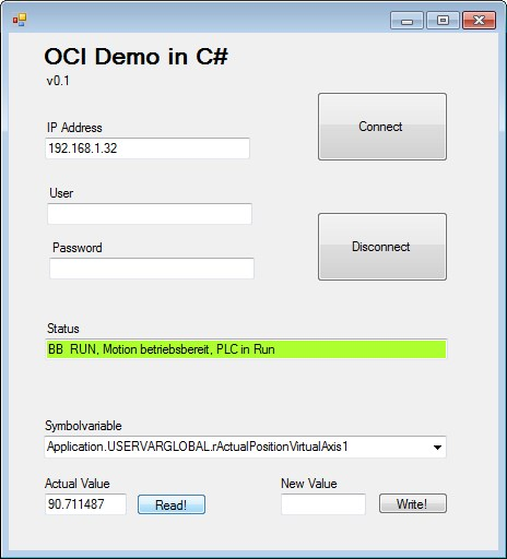 Application example using Open Core Interface in a Visual C# project